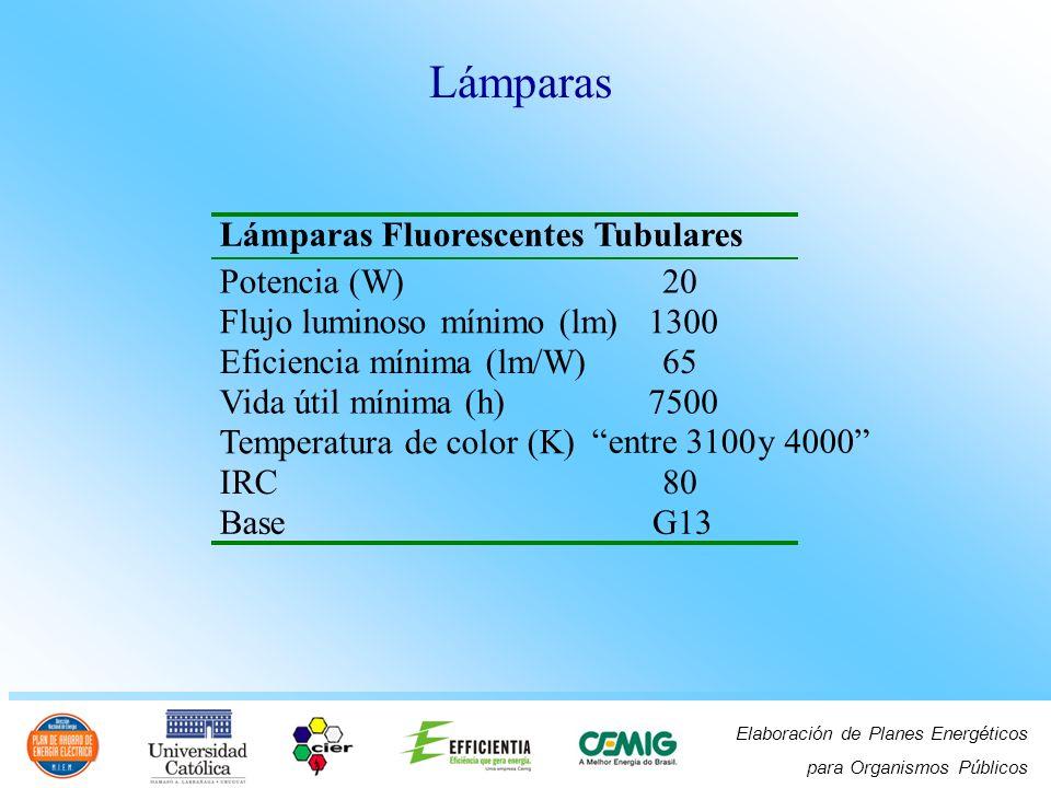 Lámparas Lámparas Fluorescentes Tubulares Potencia (W) 20