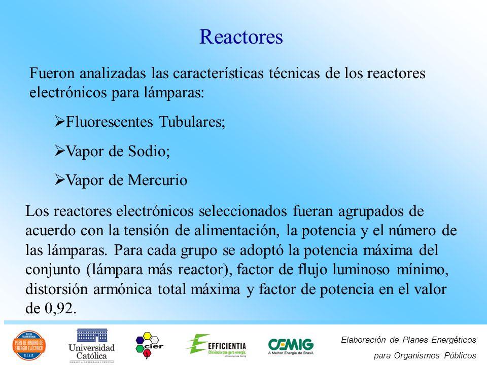 Reactores Fueron analizadas las características técnicas de los reactores electrónicos para lámparas: