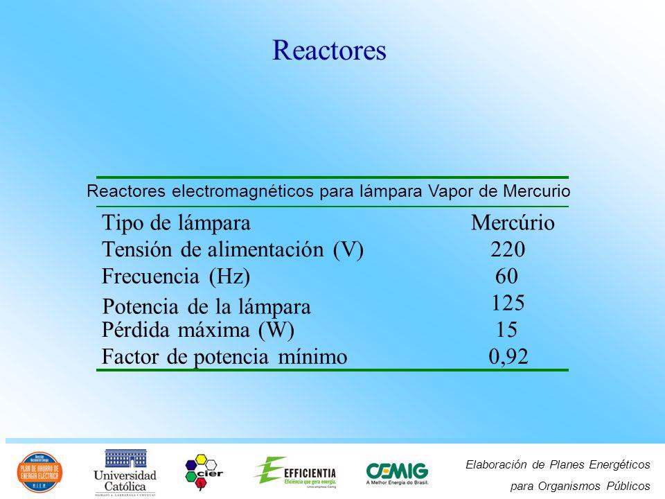 Reactores Tipo de lámpara Mercúrio Tensión de alimentación (V) 220