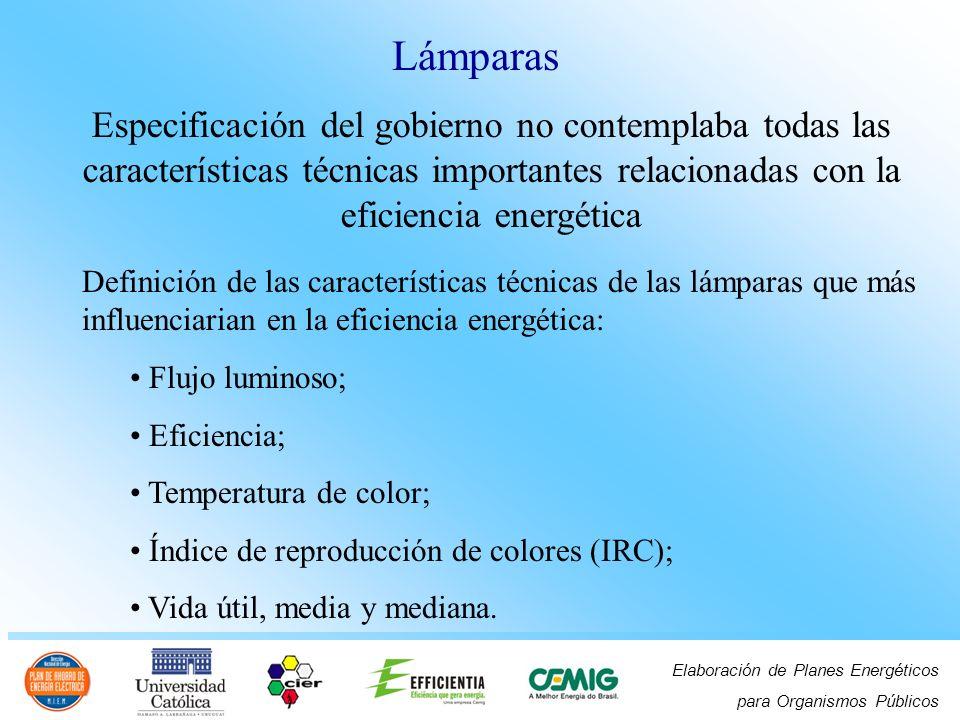 Lámparas Especificación del gobierno no contemplaba todas las características técnicas importantes relacionadas con la eficiencia energética.