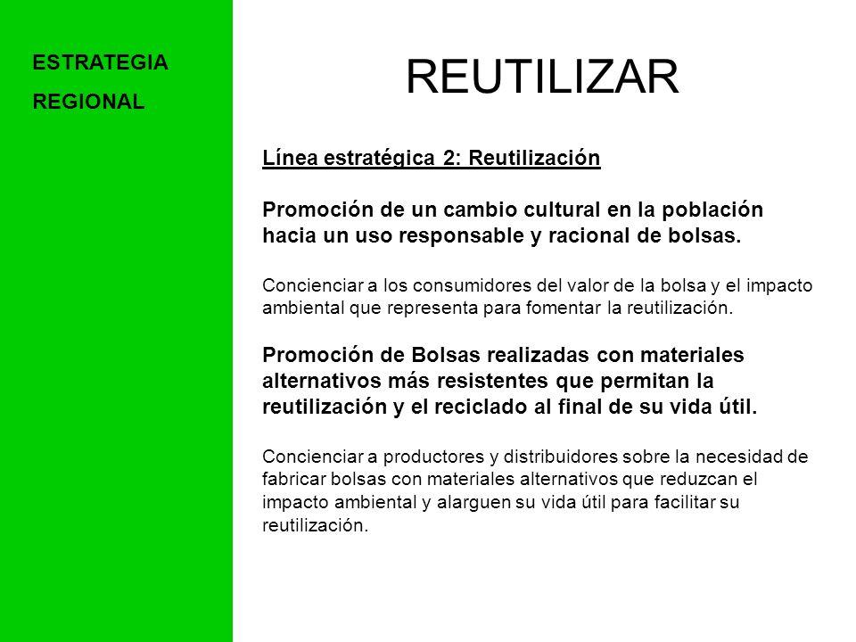 REUTILIZAR ESTRATEGIA REGIONAL Línea estratégica 2: Reutilización