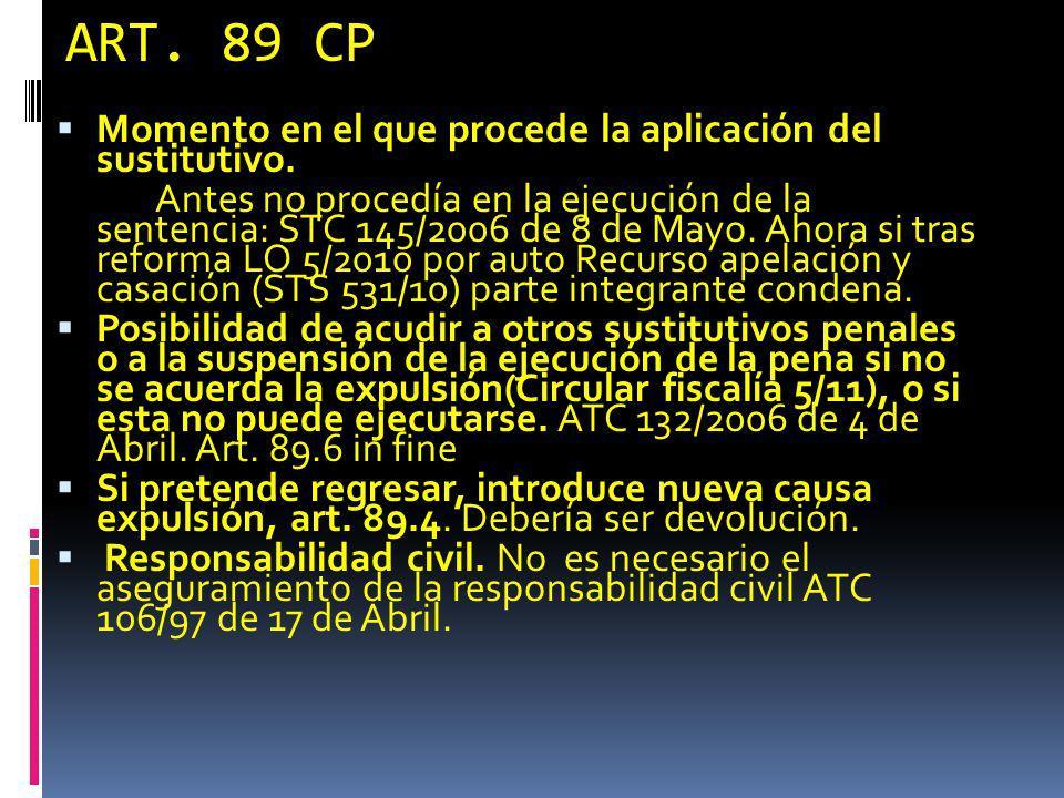 ART. 89 CP Momento en el que procede la aplicación del sustitutivo.