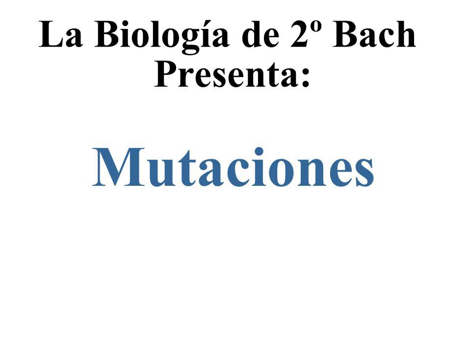 La Biología de 2º Bach Presenta: Mutaciones