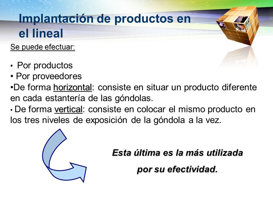 Implantación de productos en el lineal