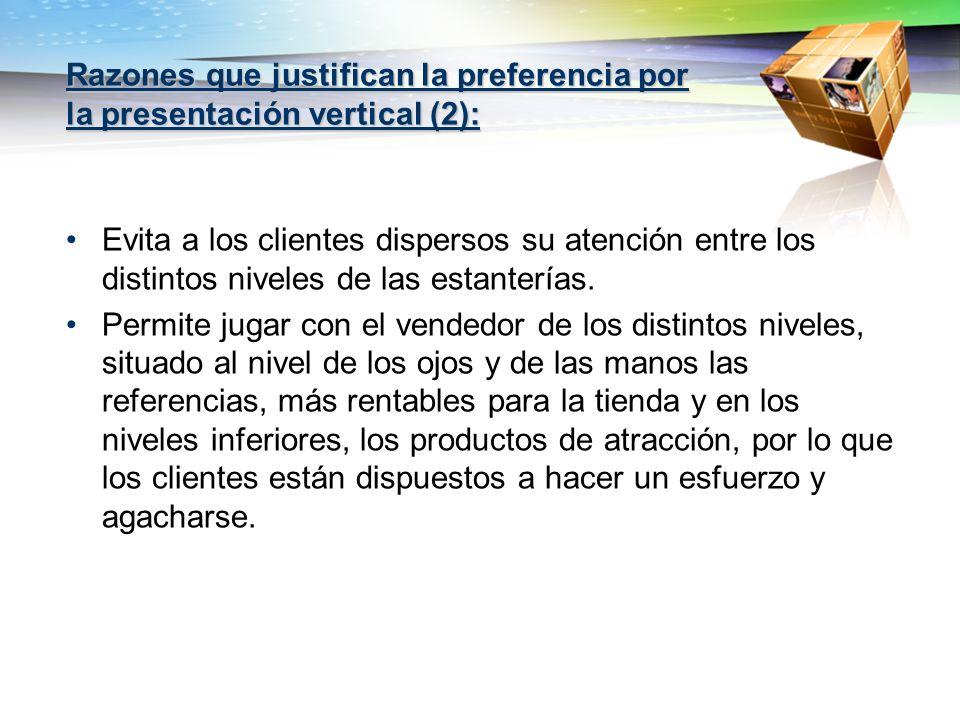 Razones que justifican la preferencia por la presentación vertical (2):