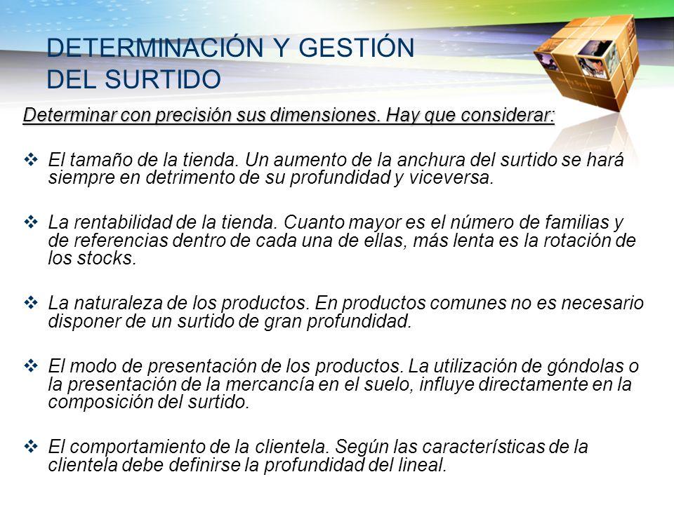 DETERMINACIÓN Y GESTIÓN DEL SURTIDO