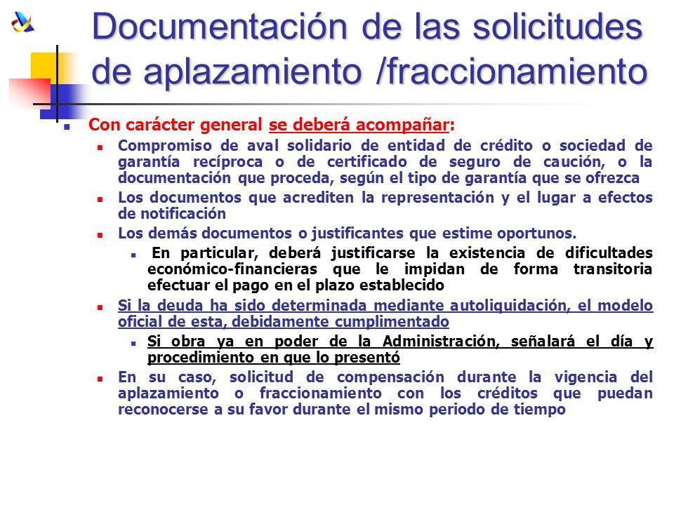 Documentación de las solicitudes de aplazamiento /fraccionamiento