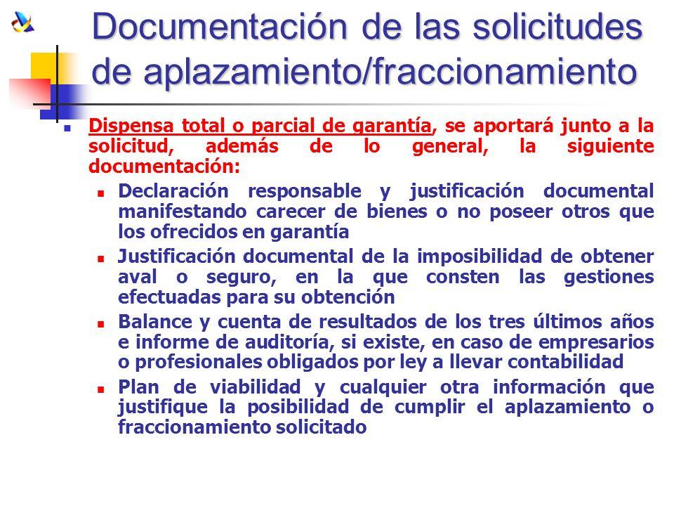 Documentación de las solicitudes de aplazamiento/fraccionamiento