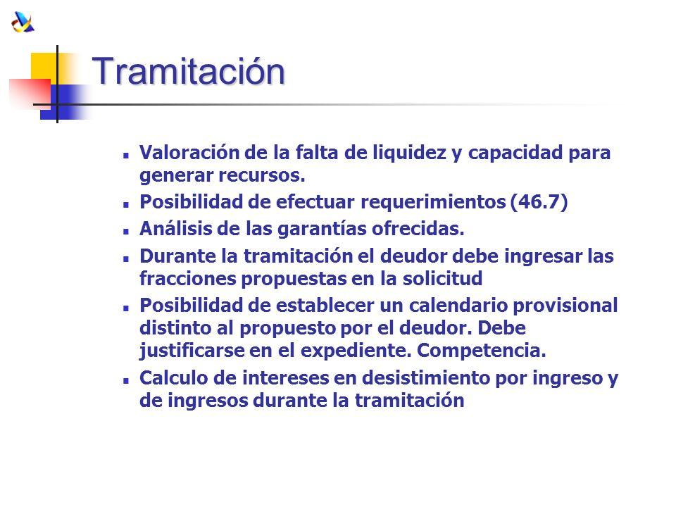 TramitaciónValoración de la falta de liquidez y capacidad para generar recursos. Posibilidad de efectuar requerimientos (46.7)