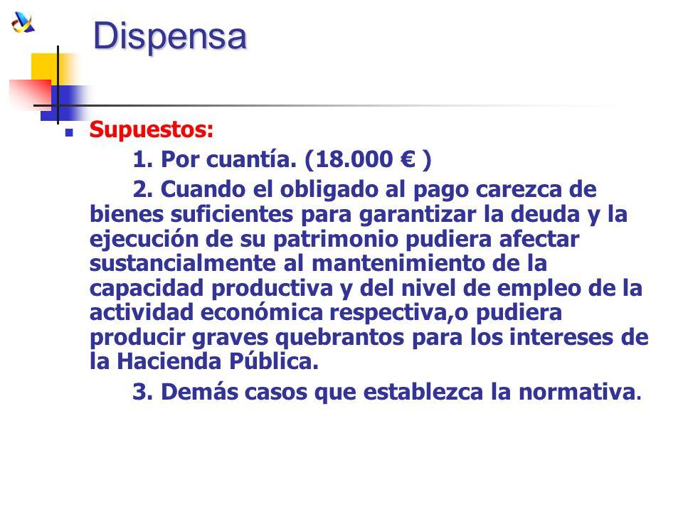 Dispensa Supuestos: 1. Por cuantía. (18.000 € )