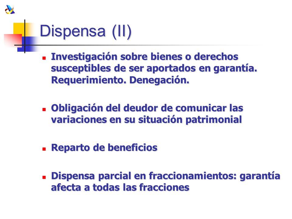 Dispensa (II) Investigación sobre bienes o derechos susceptibles de ser aportados en garantía. Requerimiento. Denegación.