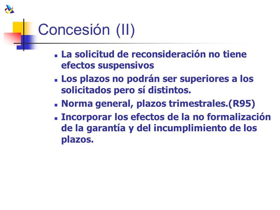Concesión (II) La solicitud de reconsideración no tiene efectos suspensivos.