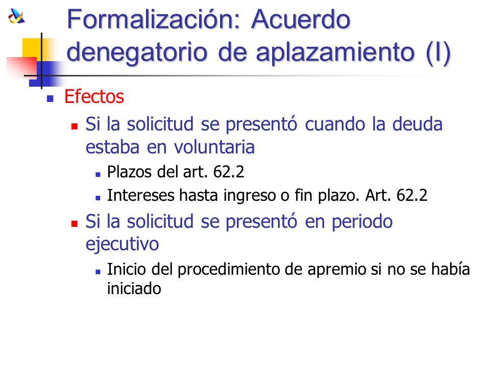 Formalización: Acuerdo denegatorio de aplazamiento (I)