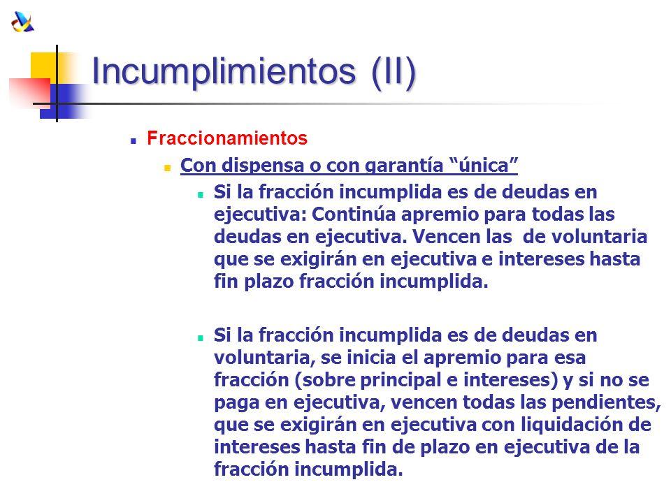 Incumplimientos (II) Fraccionamientos