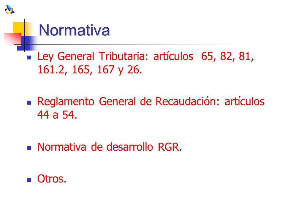 NormativaLey General Tributaria: artículos 65, 82, 81, 161.2, 165, 167 y 26. Reglamento General de Recaudación: artículos 44 a 54.