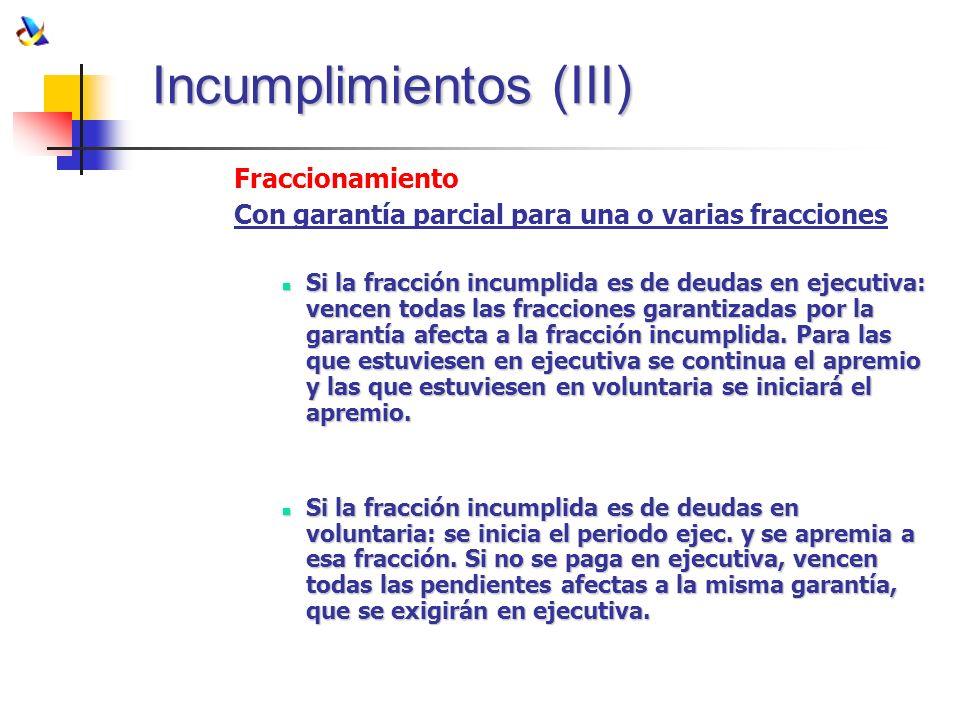 Incumplimientos (III)