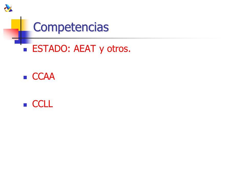 Competencias ESTADO: AEAT y otros. CCAA CCLL