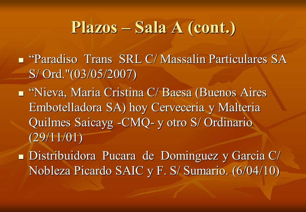 Plazos – Sala A (cont.) Paradiso Trans SRL C/ Massalin Particulares SA S/ Ord. (03/05/2007)