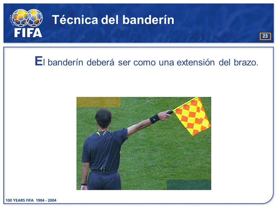 El banderín deberá ser como una extensión del brazo.