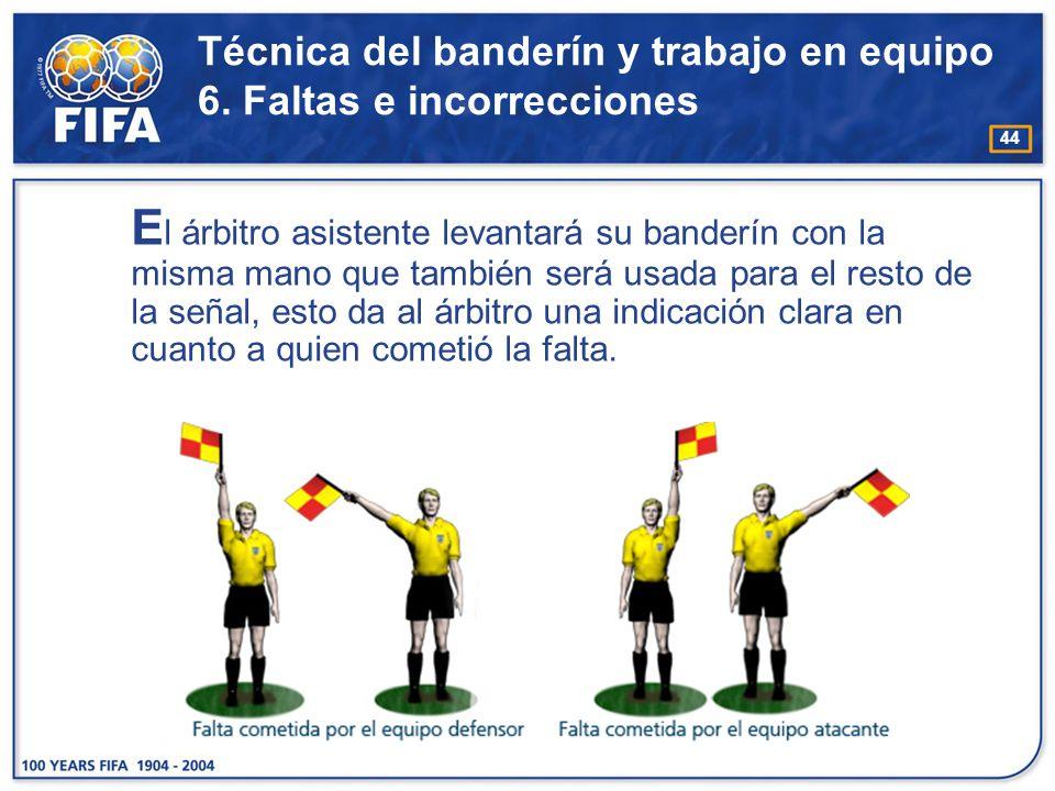Técnica del banderín y trabajo en equipo 6. Faltas e incorrecciones