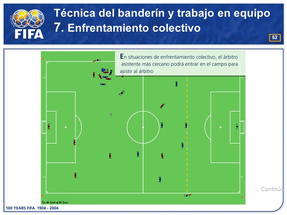 Técnica del banderín y trabajo en equipo 7. Enfrentamiento colectivo