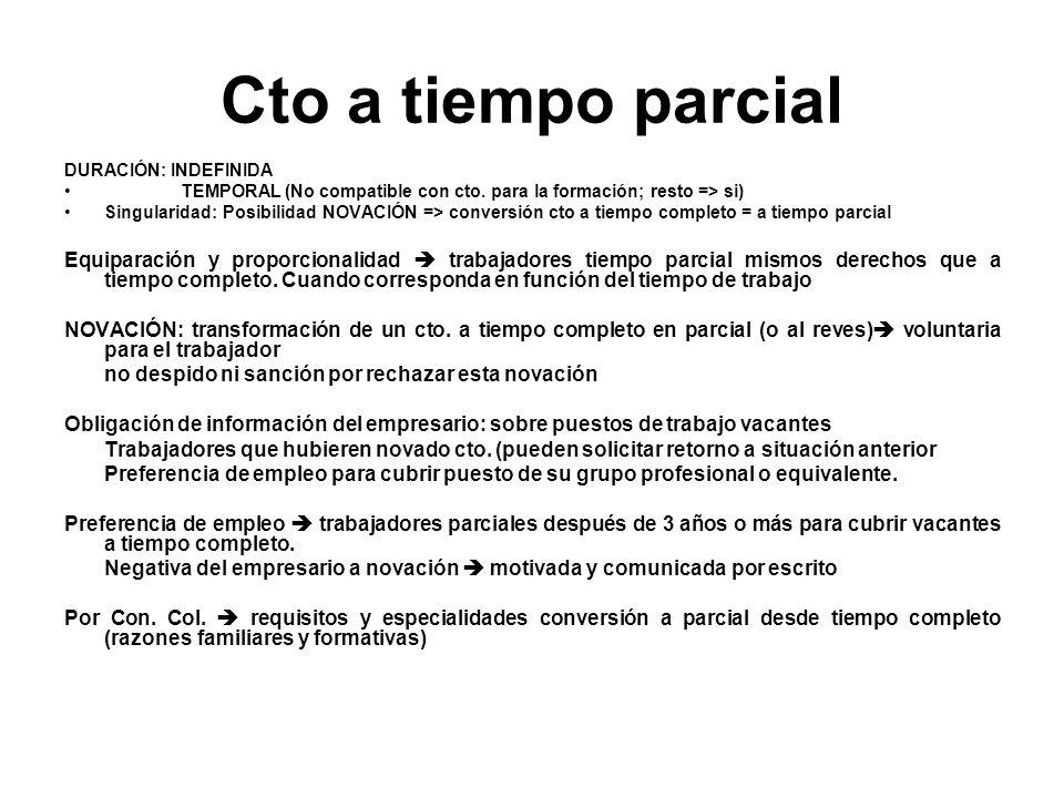 Cto a tiempo parcial DURACIÓN: INDEFINIDA. TEMPORAL (No compatible con cto. para la formación; resto => si)