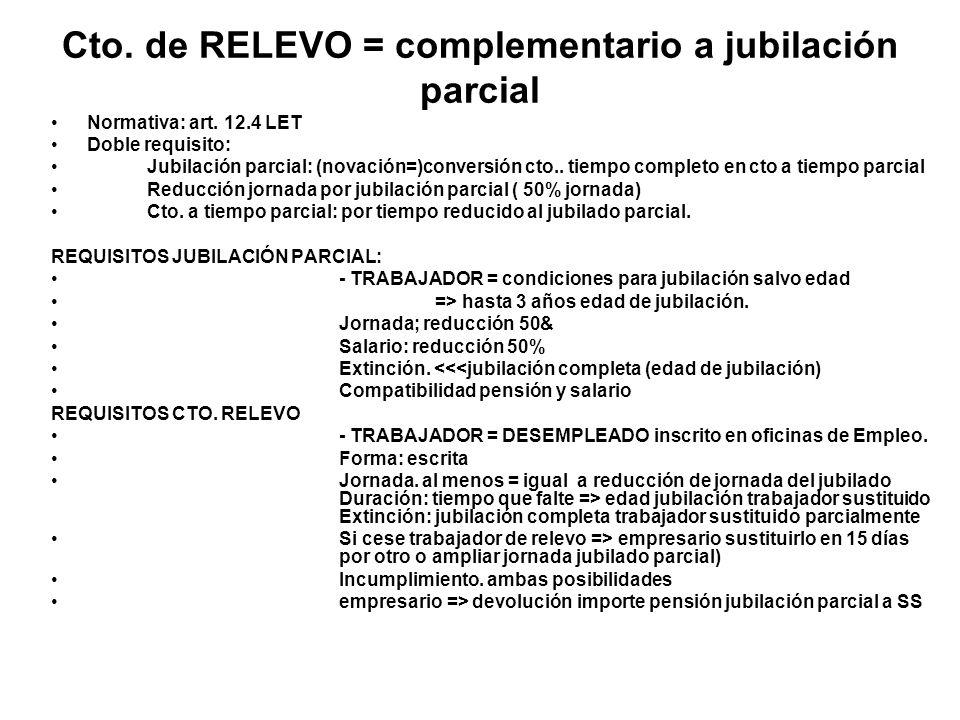 Cto. de RELEVO = complementario a jubilación parcial