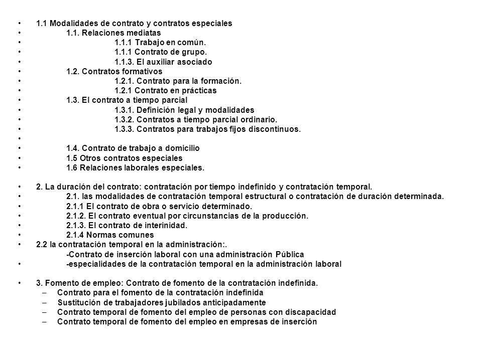 1.1 Modalidades de contrato y contratos especiales