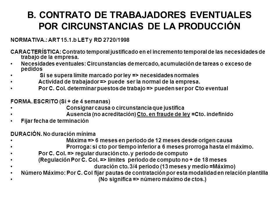 B. CONTRATO DE TRABAJADORES EVENTUALES POR CIRCUNSTANCIAS DE LA PRODUCCIÓN