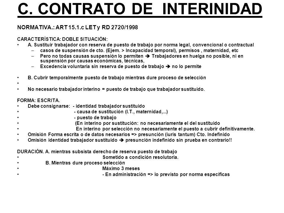 C. CONTRATO DE INTERINIDAD