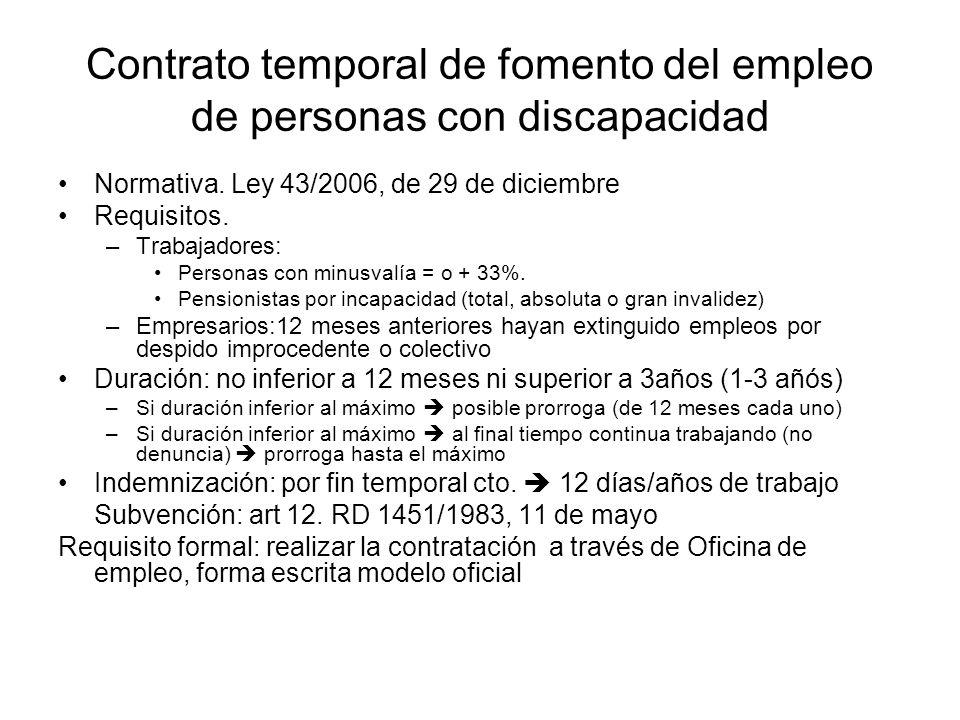 Contrato temporal de fomento del empleo de personas con discapacidad