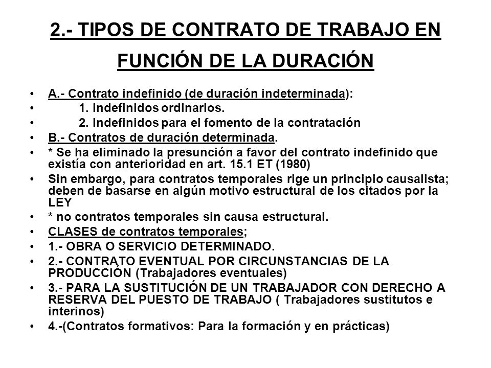 2.- TIPOS DE CONTRATO DE TRABAJO EN FUNCIÓN DE LA DURACIÓN