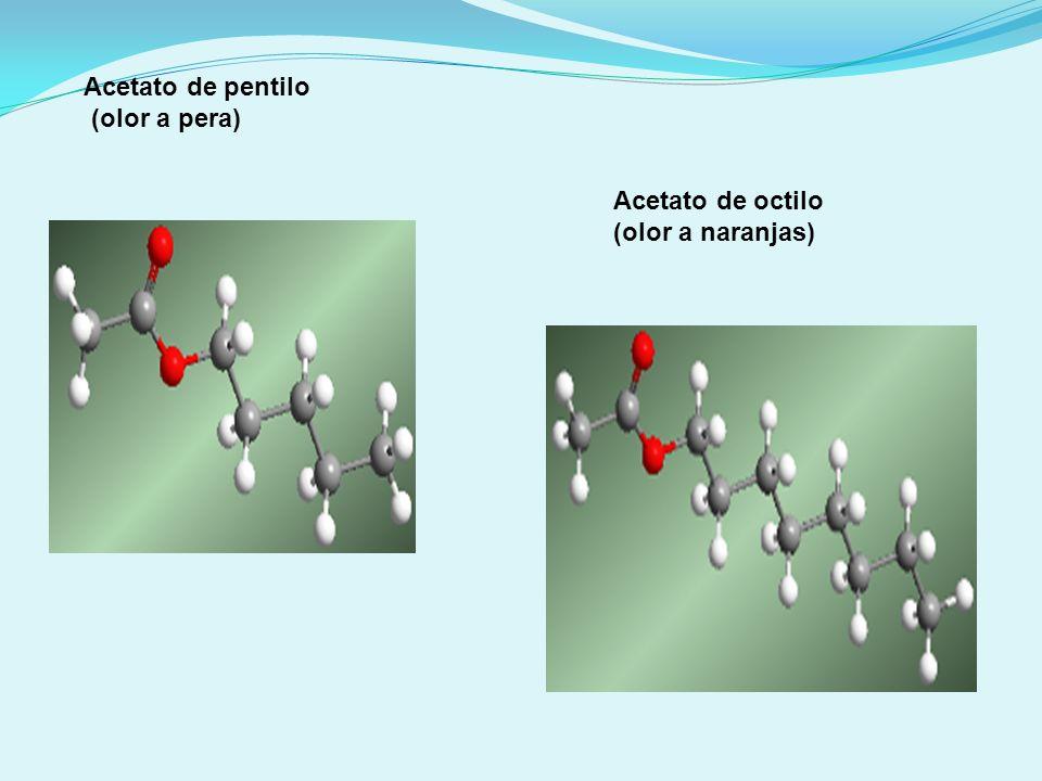 Acetato de pentilo (olor a pera) Acetato de octilo (olor a naranjas)