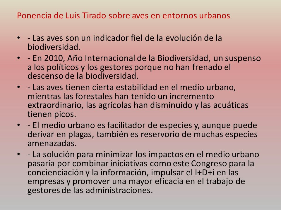 Ponencia de Luis Tirado sobre aves en entornos urbanos