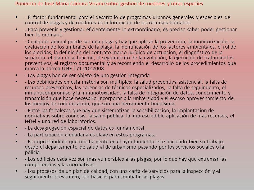 Ponencia de José María Cámara Vicario sobre gestión de roedores y otras especies