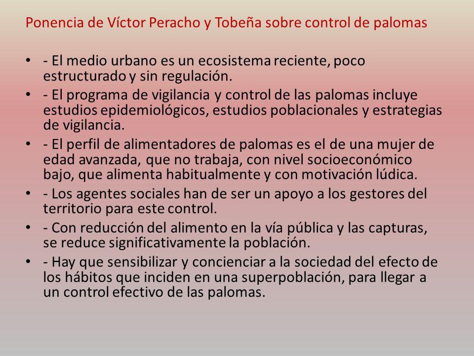 Ponencia de Víctor Peracho y Tobeña sobre control de palomas