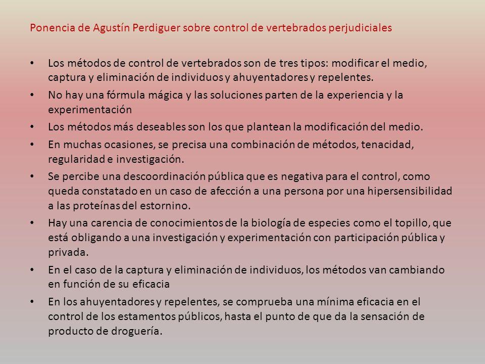 Ponencia de Agustín Perdiguer sobre control de vertebrados perjudiciales