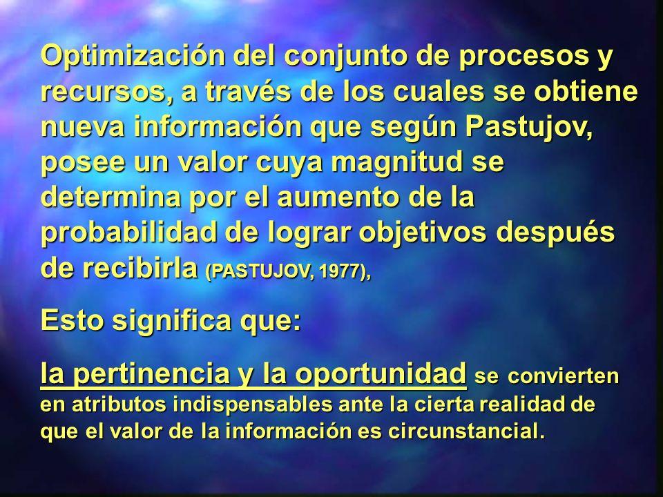 Optimización del conjunto de procesos y recursos, a través de los cuales se obtiene nueva información que según Pastujov, posee un valor cuya magnitud se determina por el aumento de la probabilidad de lograr objetivos después de recibirla (PASTUJOV, 1977),