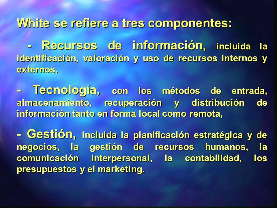 White se refiere a tres componentes: