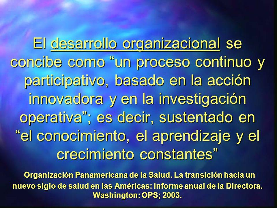 El desarrollo organizacional se concibe como un proceso continuo y participativo, basado en la acción innovadora y en la investigación operativa ; es decir, sustentado en el conocimiento, el aprendizaje y el crecimiento constantes Organización Panamericana de la Salud.