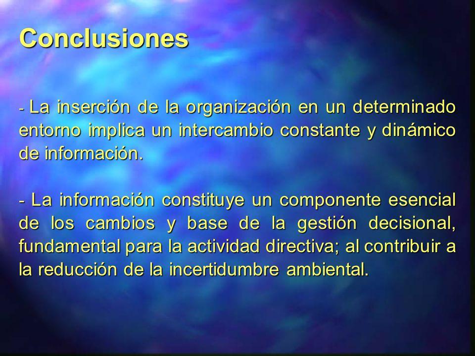 Conclusiones - La inserción de la organización en un determinado entorno implica un intercambio constante y dinámico de información.