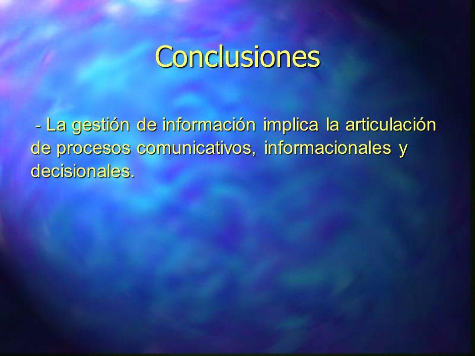 Conclusiones - La gestión de información implica la articulación de procesos comunicativos, informacionales y decisionales.