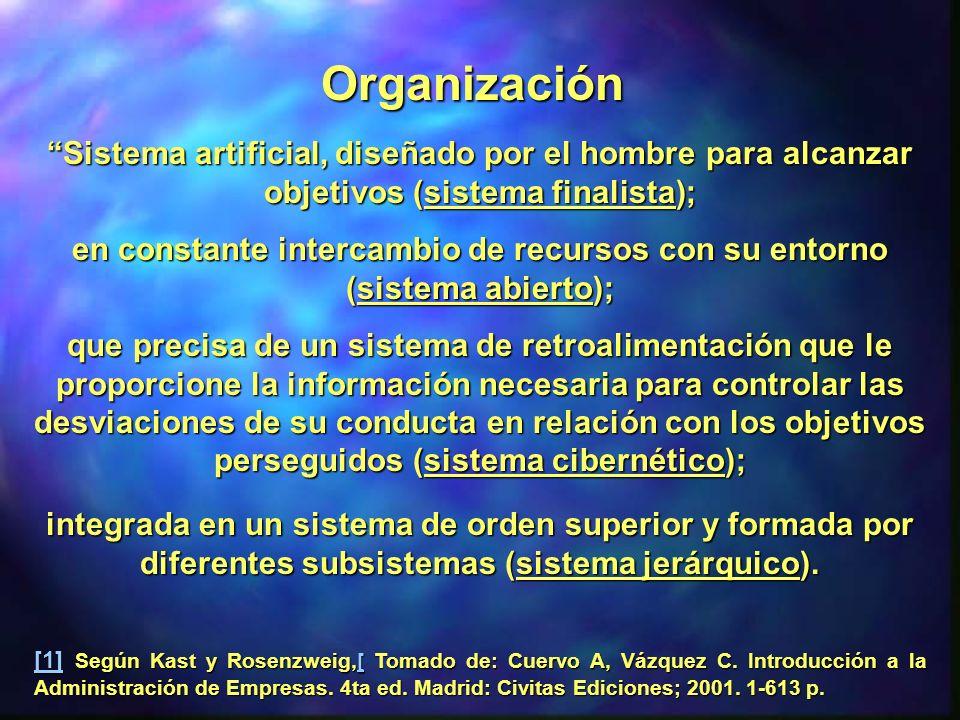 en constante intercambio de recursos con su entorno (sistema abierto);