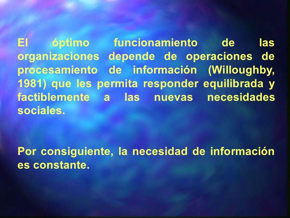 El óptimo funcionamiento de las organizaciones depende de operaciones de procesamiento de información (Willoughby, 1981) que les permita responder equilibrada y factiblemente a las nuevas necesidades sociales.