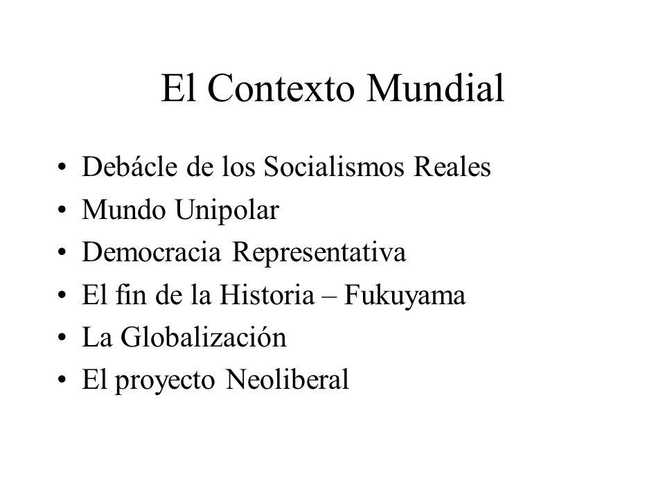El Contexto Mundial Debácle de los Socialismos Reales Mundo Unipolar
