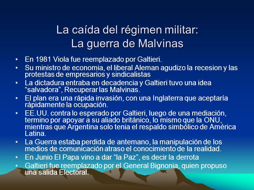La caída del régimen militar: La guerra de Malvinas