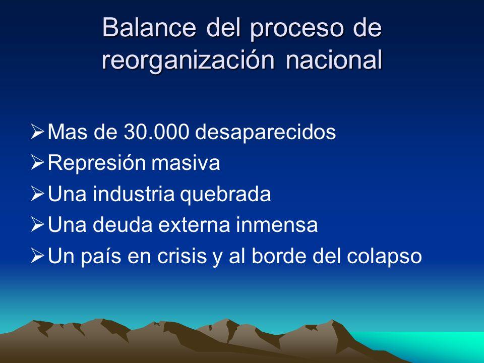 Balance del proceso de reorganización nacional