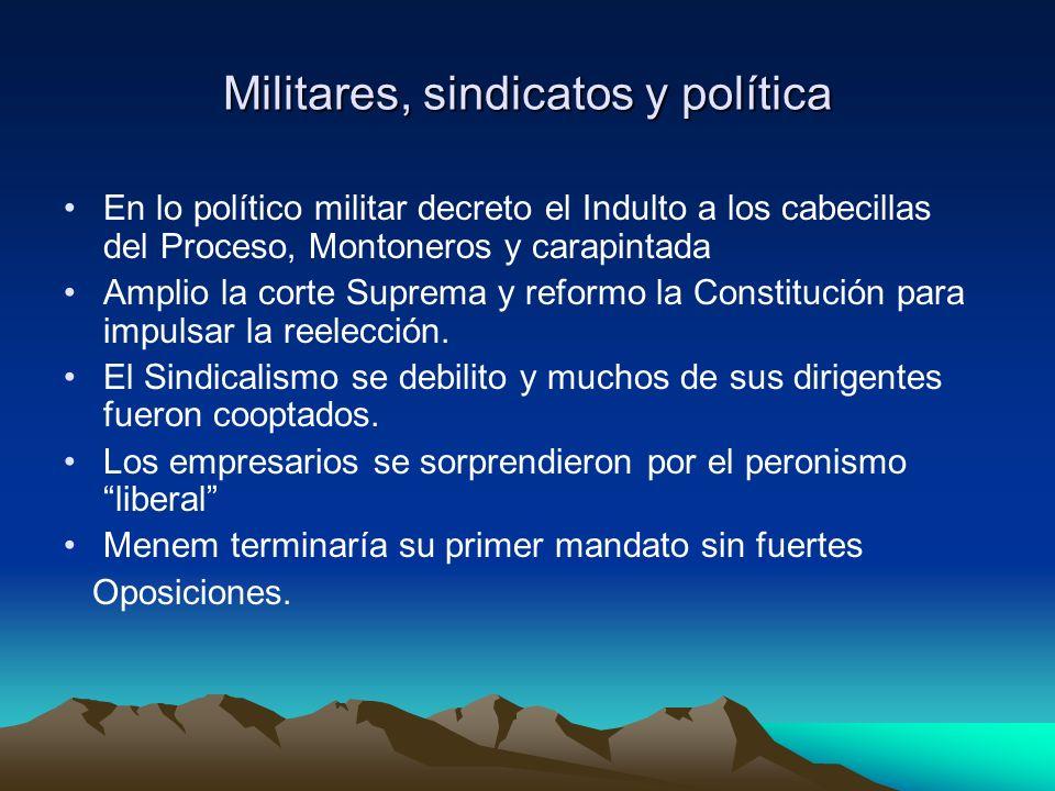Militares, sindicatos y política