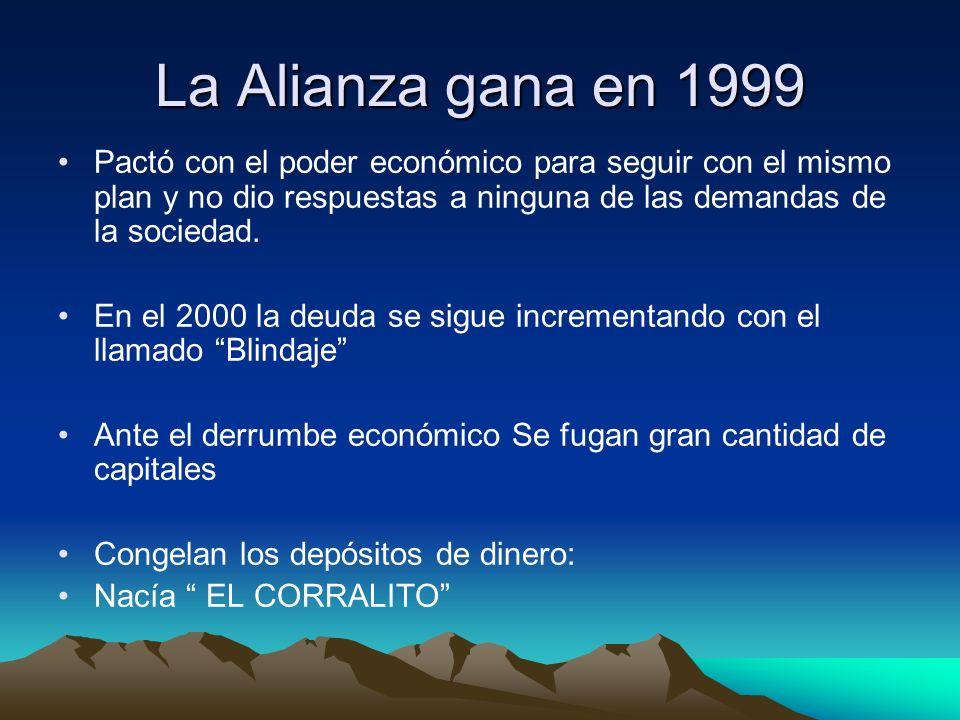 La Alianza gana en 1999 Pactó con el poder económico para seguir con el mismo plan y no dio respuestas a ninguna de las demandas de la sociedad.