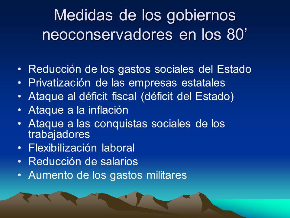 Medidas de los gobiernos neoconservadores en los 80'